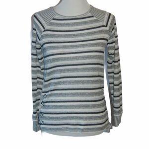 Sunday Women's White & Gray Sweater Drawstring XS